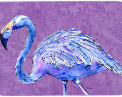 Caroline's Treasures - Flamingo On Purple Kitchen Or Bath Mat 24X36 - Kitchen or Bath COMFORT FLOOR MAT This mat is 24 inch by 36 inch. Comfort Mat / Carpet / Rug that is Made and Printed in the USA. A foam cushion is attached to the bottom of the mat for comfort when standing. The mat has been permenantly dyed for moderate traffic. Durable and fade resistant. The back of the mat is rubber backed to keep the mat from slipping on a smooth floor. Use pressure and water from garden hose or power washer to clean the mat. Vacuuming only with the hard wood floor setting, as to not pull up the knap of the felt. Avoid soap or cleaner that produces suds when cleaning. It will be difficult to get the suds out of the mat