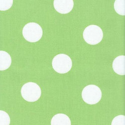 Orien Textile - Polka Dot - Outdoor Fabric, Lime & White - This great outdoor fabric is stain and water resistant, perfect for outdoor settings and indoors in sunny rooms. It is fade resistant up to 500 hours of direct sun exposure. Create decorative toss pillows, chair pads, tabletop and tote bags. To maintain the life of the fabric bring indoors when not in use. This fabric can easily be cleaned by wiping down or hand washing with warm water and a mild soap solution, simply rinse with clear water to prevent dirt from embedding itself into the fabric.