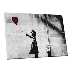 "PingoWorld - Banksy Girl With Balloon Gallery Framed Canvas Print, 20""x16""x1.25"" - Girl With Balloons by Banksy. Gallery wrap on archival quality canvas using Epson Ultra-Chrome inks and pine wood frames."