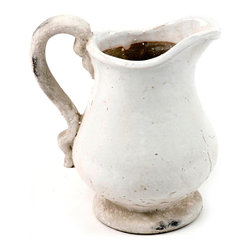 Kathy Kuo Home - French Country Stoneware Pitcher- Large - After seeing these farmhouse pitchers, glazed in a milky, matte finish you'd almost wish for the days when washbasins were standard fixtures in the bedroom.  Thankfully, these modern day beauties are happy to compliment your entertaining or floral expressions while still evoking the same old-fashioned charm and warmth.