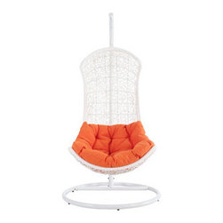 """LexMod - Endow Swing Outdoor Patio Lounge Chair in White Orange - Endow Swing Outdoor Patio Lounge Chair in White Orange - Grasp inspiration from the splendor that surrounds you with this distinct modern piece. Endow bestows its recipient with an elevated seating position. Sit apart from the collective while welcoming unity with a plush all-weather orange cushion and receptive frame. Set Includes: One - Endow Swing Chair Stand One - The Endow Rattan Outdoor Wicker Patio Swing Chair Steel outdoor stand in white finish, Durable powder-coated surface, All-weather synthetic woven rattan base, Water resistant orange fabric cushions, Easy Assembly Required Overall Product Dimensions: 39""""L x 39""""W x 77""""Hbrasket Dimensions: 29.5""""L x 34""""W x 52""""H Stand Dimensions: 39""""L x 39""""W x 77""""H Seat Height: 19""""H - Mid Century Modern Furniture."""