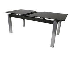 "Pastel Furniture - Pastel Monaco Rectangular Black Glass Dining Table in Chrome - 35"" x 63"" Rectangular Black Glass Dining Table in Chrome"