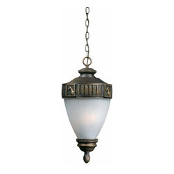 """Triarch International - Triarch International 75337-14 Rustic / Country 3 Light Exterior Pendant - 3 light exterior pendant featuring ribbed frosted glassMade from a weather resistant """"Tri-Stone"""" Resin material that is designed for harsh environmentsRequires 3-60w Candelabra Base Bulb (Not Included)"""