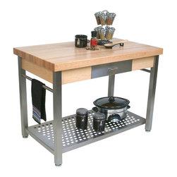 John Boos - John Boos Cucina Grande Maple & Stainless Steel Kitchen Prep Station - John Boos Cucina Grande Maple work table. Stainless steel base, shelf, towel bar & drawer front. Add an 8-inch drop leaf, 48-in.-high pot rack and wheels.