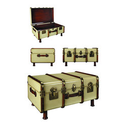 """Ivory Stateroom Trunk/Table - When the Gare Central was manned by porters carrying multiple travel trunks to the Pullman Coupe or your private carriage on the Orient Express When travel was for restless souls with matching bank accounts and a yen for romance. When a Rolls coupe was delivered with a picnic trunk strapped to a tail-rack. And when this trunk held a complete setting for twelve, including champagne flutes and dispensers for foie gras and Petrossian. Professional brass hardware, brass locks and keys, steamed cherry wood bent slats, bridle leather carry handles. Complete with hand turned legs to serve a further life as a coffee table. Honey finished wood inside. Item measures 32.25"""" x 18.25"""" x 22.75""""."""