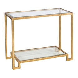 Lyle Console Glass Gold console - The versatile Lyle glass console table has a chic and modern style. It has two simple glass shelves and an elegant gold or nickel leaf finish. Stunning angular design and striking metallic finishes make this console table very special.