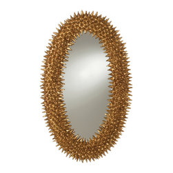 Spore Antiqued Gold Leaf Mirror - Barry Dixon, one of the most highly regarded American interior designers, transforms a simple oval profile into a thoroughly unexpected ornament with marvelously fantastical texture and detail. The frame is covered in wooden pointy spores, a sea-inspired motif that gains a glamorous edge from the gold finish. The mirror can hang vertically or horizontally.