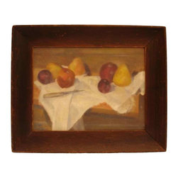 Still Life Fruit Oil Painting - Oil on canvas painting.  Signature is on the back of stretched-canvas frame. Impressionistic – an ode to Cezanne.