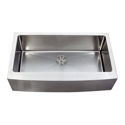 "Ariel - 36 Inch Stainless Steel Curved Front Farm Apron Single Bowl Kitchen Sink - The sleek, brushed finish and curved apron front of this stainless steel sink will blend perfectly in your contemporary kitchen. Featuring one large 33 inch well that is perfect for prep jobs. Exterior Dimensions 35-7/8"" x 20-3/4"". Interior Dimensions 33"" x 16"". Apron Depth 9"". Bowl Depth 10""."