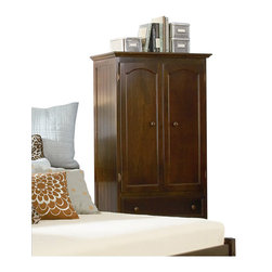 Atlantic Furniture - Atlantic Furniture Manhattan TV/Wardrobe Armoire in Antique Walnut - Atlantic Furniture - Armoires - C71904 - The Manhattan TV/Wardrobe Armoire is a perfect example of casual country chic. The vertical detailing of the side panels creates both balance and visual interest. With its distinct contemporary cottage feel it is sure to be the focus of any room.