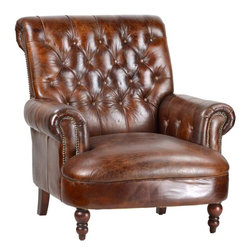leather chairs - Fully Upholstered distressed leather chair