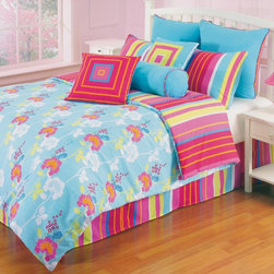 kathy ireland - kathy ireland Young Attitudes Funky Flower Comforter Set Multicolor - 65362 - Shop for Bedding Sets from Hayneedle.com! Funky town is well within reach with the kathy ireland Young Attitudes Funky Flower Comforter Set! Have a little fun and perk up your sleeping space with this bountiful ensemble. Featuring a stylish turquoise background with pops of color and liveliness you'll enjoy cuddling up in this sweet-dream safe haven that'll last for years!Comforter DimensionsTwin: 86L x 68W inchesFull: 86L x 86W inchesBedding Set Components:Twin: 1 comforter 1 standard 26L x 20W inches shamFull:1 comforter 2 standard 26L x 20W inches sham sAbout Hallmart Collectibles Inc.Hallmart Collectibles is based in Southern California and sells bedding at the finest retailers. Hallmart bedding covers all the looks from simple and classic to bold and eclectic. Their collections are designed to fit today's higher beds and thicker mattresses. All comforters and pillow shams are corded for ultimate strength and softness. Their decorative pillows have lush details and embellishments. Hallmart Collectibles prides itself on providing customers with supreme value for their money. Their bedding lines feature quality additions like thick cording pintuck stitching decorative quilting flanging rich bullions or dressy fringe for that fresh from the decorator look.