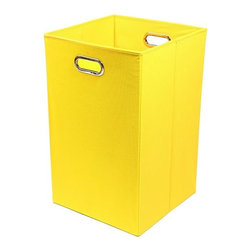 Modern Littles - Sweets Solid Yellow Folding Laundry Basket - Keep laundry tidy, organized and add a pop of colorful decor to a room with this folding laundry bin. Perfect for the bathroom, closet or laundry room, it folds flat when not in use for easy storage, and the lightweight design features handles for effortless carrying.