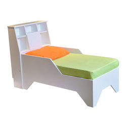 Fable Bedworks - Firefly Toddler Bed - The Firefly Toddler Bed offers a sweet transition for your toddler's bedroom. Handcrafted by Fable Bedworks designer Doug Robinson with a unique storage headboard, this fun toddler bed fills the gap between crib and full size bed. Where space is a consideration, enjoy all the benefits of a 'big kid' bed in a compact design, while also extending the life of your crib mattress and bedding. Its simple, clean lines make the Firefly an ideal addition to any decor. High-quality and expertly built, this toddler bed makes playtime and bedtime more fun.