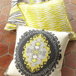 """Trina Turk - Trina Turk """"Neutral Medallion"""" Pillow - Lively accent pillows are specially designed to highlight your outdoor spaces with color and pattern. From Trina Turk. Made of acrylic twill with Dacron® fill. Hand wash. All three pillows have a 0.5"""" flange on three sides and are 22""""Sq. Outdoo..."""
