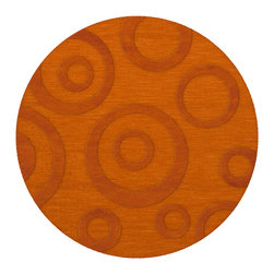 """Dalyn Rugs - Dalyn Rugs Dover DV5 Orange Rug DV5OR10RO - """"Luxury"""", made in the USA. Stylish, tonal, geometric and floral designs. Textural cut and loop pile. 100% premium wool."""