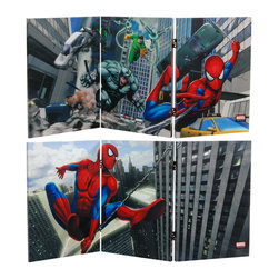 Oriental Furniture - 2 ft. Tall Double Sided Friendly Neighborhood Spider-Man Canvas Room Divider - High quality graphic art reproductions of Marvel comics friendly neighborhood Spider-Man. Rich color and dynamic imagery, printed on a limited edition two foot tall folding screen. Great for table or desk top, window sill, or colorful, creative wall art.
