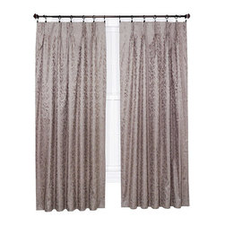 Ellis Curtain - Dover Taupe 63 x 48-Inch Pleated Thermal Curtain Panel Pair - - Ellis Curtain Dover Damask Woven Scroll Thermal Insulated Pinch Pleated Foamback Pair of Drape Panels - Three curtains in one is the best way to describe these amazing curtains! The Dover Pinch Pleated Thermal curtains go way beyond just looking great. With thermal properties and blackout features they function great too. Constructed with a heavyweight 100-percent polyester face ensures a curtain that has a soft texture and smooth draping effect. A subtle Damask Scroll design is woven into the fabric to create just the right amount of contrast and fits within most home decors. A 100-percent acrylic backing provides insulating qualities that significantly save energy and money year round. During the winter months thermal insulated curtains hold drafts and help keep out the cold while holding in the heat. During the summer months they block the suns rays and keep the heat out while holding the air conditioning in keeping you cooler. With their solid transparency they provide additional privacy and light blocking promoting security and a better nights rest.   - The pre-gathered pleated curtains are easily hung on a drapery or traverse rod with drapery rings and pinch clips or drapery hooks. Sold in pairs (2 Panels) Width is measured overall 48-Inch per pair of panels (both 24-Inch panels together) Length is measured overall 63-Inch from top of curtain to bottom of panel. A 3-Inch stitched bottom hem is added for strength and to provide a clean crisp edge. For added convenience these curtains are machine washable   - Features pinch pleated top pocket construction   - A drapery rod which is not included is required to complete installation   - The lining fabric material is Acrylic Ellis Curtain - 730462112514