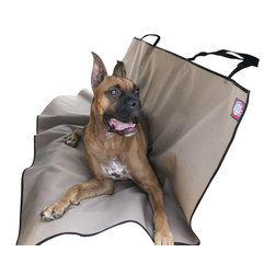 Majestic Pet Products - Tan Universal Waterproof Back Seat Cover - Majestic Pet Products Tan Universal Waterproof Back Seat Cover provides a protective barrier on the back seating area of your vehicle. We have made it easy for you to stay safe while hanging out in the back seat with your pet, by creating slits in the center of the seat cover for seat belts to be worn while cover is installed. This cover has two adjustable nylon straps that attach to the rear headrest, making for easy installation. Made from durable waterproof ballistic nylon, this cover will wipe clean or can be machine washed