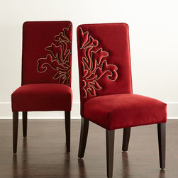 """Haute House - Miguel Dining Chairs Coordinating Pair - CRANBERRY - Haute HouseMiguel Dining Chairs Coordinating PairDetailsEXCLUSIVELY OURS.Alder wood frames.Acrylic/polypropylene upholstery with nailhead design.Sold as a coordinating set of two (one with right-aligned design and one with left-aligned design). Each 19.5""""W x 23""""D x 42""""T; seat 19.5""""W x 19""""D x 19.5""""T. Handcrafted in the USA.Boxed weight approximately 44 lbs. Please note that this item may require additional delivery and processing charges.Designer About Haute House:Haute House is a Hollywood-based design and manufacturing company that creates haute couture furnishings for the home. Designer and owner Casey Fisher has been designing furniture for years as an upholstery textile and retail space stylist. Instead of designing a line offering just one look the Haute House line consists of three looks that offer something for every taste. However there is one element present in every Haute House design a great sense of style."""