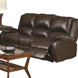"Coaster - Motion Sofa (Brown) By Coaster - Add some flare to your living room with the Boston brown reclining sofa. This sofa is luxurious and comfortable seating that will make a great addition to your home. Sit back and relax with the Boston sofa, featuring pocket coil seating. This listing is for the sofa only. Dimensions : 80.5"" x 37.5"" x 37.5""."