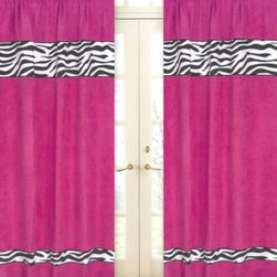 Sweet Jojo Designs - Sweet Jojo Designs Funky Zebra Window Panel Pair in Pink - Transform your child's room into a stylish safari with the Funky Zebra Collection from Sweet Jojo Designs. Featuring a bold hot pink hue, these ultra-soft microsuede window panels are detailed with graphic zebra print piping for the ultimate exotic touch.