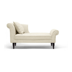 Baxton Studio - Lucille Beige Linen Victorian Chaise - Modern comfort, old-world style. Our Lucille Modern Chaise is regal with scroll-back detail, piped edges, beige linen blend upholstery, and fabric piped edges. Black turned wood legs with non-marking feet and a matching throw pillow add even more charm. A sturdy birch wood frame and CA117 flame retardant foam will provide stability and comfort for years to come.
