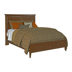 Kincaid - Kincaid Cherry Park Solid Wood Queen Panel Storage Bed - Add classic warmth and modern convenience to your master suite with this  storage bed from the Cherry Park collection.  Crafted from wild black  cherry wood, this headboard and footboard bed emulates relaxation with  its smooth, lightly rounded edges and radius tapered feet.  The  footboard of the bed includes two spacious drawers where seasonal  sweaters, extra blankets, and other items can be tidily tucked away.  A  fantastic option for condo and small-scale living in need of added  organization space, this storage panel bed is sure to bring casual  fashion and functionality into your home.  This bed is available in  Queen and King sizes.