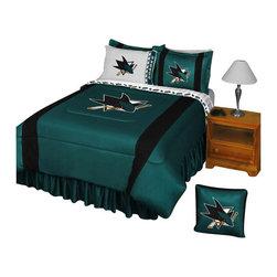 Store51 LLC - NHL San Jose Sharks Comforter Pillowcase Hockey Bedding, Twin - Features: