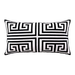 """Trina Turk - Trina Turk Greek Key Black Embroidered Linen Pillow - The ancient Greek key becomes a modern geometric motif in the foursquare of the Greek Key throw pillow embroidered in rich black. Handcrafted with a focus on contemporary style for your bedroom, den or living space. Pillow measures 26"""" x 14""""; Linen pillow with embroidered detail; Hidden zipper closure; Down pillow insert included; Natural linen may appear beige rather than white as shown"""