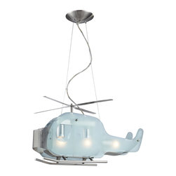 Elk Lighting - Novelty 3-Light Helicopter Shaped Pendant in Satin Nickel - Fun for all ages! These whimsical lighting fixtures will put a smile on you or your child�s face with a myriad of shapes and themes meant to stir the imagination and create a lighthearted environment.
