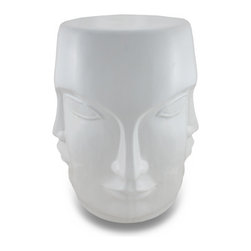 Zeckos - Museum White Ceramic Perpetual Face Stool / Plant Stand - This beautiful white ceramic stool can be displayed indoors or outdoors. The base of the stool is made of a quartet of human faces, with the eyes being shared by the faces. The stool measures 18 inches tall, 13 inches in diameter. The top is flat, so it can also double as a plant stand or pedestal. It makes a great gift.