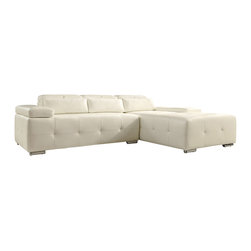 Home Elegance - Modern White Tufted Leather Sectional Sofa With Chaise Lounge - Comfort never looked this cool. Low-slung, soft to the touch and amply sized, the Amare Collection features a bonded leather all white covering that furthers the contemporary feel beyond its classic design elements. You can add support or modify the look of the group with click of the adjustable headrests and armrest.