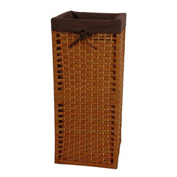 "Oriental Furniture - 28"" Natural Fiber Laundry Hamper - Honey - This is a sturdy, light weight, and attractive square shaped basket, tall and narrow, with a 101 practical uses around the home. Throw dog or toddlers toys inside, gloves and scarves, umbrellas and walking sticks. The advantage is there is no lid to get in the way, a simple and very useful home decor accessory. Well crafted from spun plant fiber cord interwoven with ¼"" wood dowel rods on a light weight wood frame."