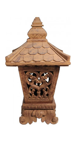 """Oriental furnishings - 22""""H Stone Japanese Garden Lantern Ikekomi-Gata - This 22""""H  lantern features unique designs that fuse together Indonesian and Japanese-inspired traditions. Place several in your backyard to bring this global light to your own home. Our lanterns are cast in natural, sustainable volcanic ash and weatherproofed for indoor or outdoor use."""