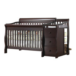 Sorelle - Sorelle Tuscany & More 4-in-1 Convertible Crib and Changer Set in Espresso - Sorelle - Cribs - 1050GE - The Tuscany 4-in-1 Convertible Crib is a stylish modern designed crib made of solid sturdy construction with recessed hardware for your child's safety. The Tuscany Crib can be used a crib daybed toddler bed or full size bed using optional wooden conversion rails. This is an excellent space saver for smaller baby rooms when used as a Crib and 3-drawer chest. This crib grows with your child; seeing them through from birth to college. This versatile 4 in 1 crib and more converts to a toddler bed bay bed or Full Size Adult Bed Side Rails. This is an excellent space saver for smaller baby rooms when used as a crib and 3-drawer chest.