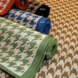 Houndstooth Polypropylene Area Rug - Indoor/outdoor rugs are becoming a new favorite decorating go-to item for me for their versatility and low-budget cost. I love the fun color options offered for this houndstooth rug.