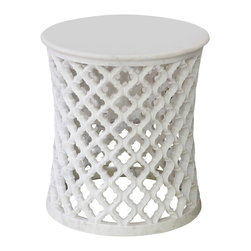 Global Views - Marble Arabesque Side Table - Indian Jali fret make up this carved marble table. Top is solid marble.