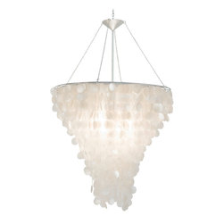 Worlds Away - Capiz Chandelier - Large round capiz shell chandelier with interior double nickel plated socket for two 60 w bulbs. Comes with 3' chrome chain and canopy.