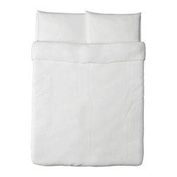 DVALA Duvet cover and pillowcase(s) - Duvet cover and pillowcase(s), white