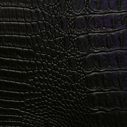 Allie Upholstery Fabric, Black - Vinyl pattern suggests an alligator hide and is suitable for upholstery, cornice/headboards, and other decorative uses.