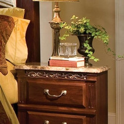 Standard Furniture - Triomphe Nightstand - French dovetail. Roller side drawer guides. Top drawers are felt lined to protect delicate items. Surfaces clean easily with a soft cloth. Wood products with simulated wood grain laminates. 25 in. L x 16 in. W x 29 in. H