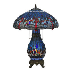 Meyda Tiffany - Meyda Tiffany Hanginghead Dragonfly Lighted Base Table Lamp X-048811 - From the Hanginghead Collection, this Meyda Tiffany dragonfly table lamp features a lighted base for added light and appeal. The intricate dragonfly pattern is repeated in both the shade and the base, creating a visually stunning and bold look for any setting. Red and blue hues add to the appeal of this design.