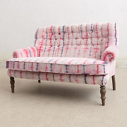 Anthropologie - Hand-Dyed Velvet Settee, Pink - Hello! This is hands down the coolest piece of furniture I've ever seen. It's a beautiful hand-tie-dyed velvet settee, and it pretty much rocks my world. Don't you think my little girl needs this pink piece in her nursery?