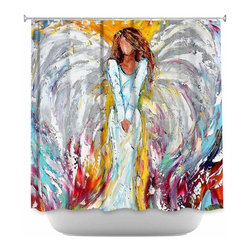 DiaNoche Designs - Shower Curtain Artistic Angel Watching Over Me - DiaNoche Designs works with artists from around the world to bring unique, artistic products to decorate all aspects of your home.  Our designer Shower Curtains will be the talk of every guest to visit your bathroom!  Our Shower Curtains have Sewn reinforced holes for curtain rings, Shower Curtain Rings Not Included.  Dye Sublimation printing adheres the ink to the material for long life and durability. Machine Wash upon arrival for maximum softness on cold and dry low.  Printed in USA.
