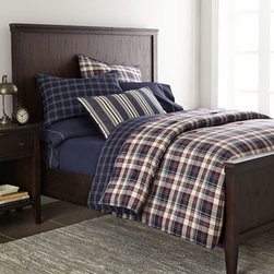 "Lauren Ralph Lauren - Lauren Ralph Lauren Twin Quilt, 66"" x 90"" - All-cotton ""Wyatt"" bed linens sport classic plaid and stripe patterns. Red and navy plaid, yarn-dyed comforters have a navy and cream windowpane reverse. Twin comforter set includes 66"" x 86"" comforter and one matching standard sham. Full/queen comfor..."