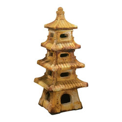 "Lamps Plus - Arts and Crafts - Mission Henris Studio Cast Stone 4-Tier Pagoda Garden Accent - This garden accent will enhance your Zen garden or patio design. It looks like an antique with its rich earth-tone Relic Sargasso finish. Crafted of cast stone in the Chicago area workshops of Henri Studios with hand-crafted detail sculpted into every piece. Relic Sargasso finish. Cast stone construction. 13"" long. 13"" wide. 37"" high.  Asian pagoda garden accent.  Relic Sargasso finish.  Cast stone construction.  Hand-made in the USA by Henri Studio.  Due to its natural materials variations in color and texture will occur.  Custom made to order; please allow extra time for delivery.  13"" long.  13"" wide.  37"" high."