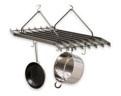 Enclume - Hanging Z-Rack w Eight Angled Bars - A remarkable blend of fashion and function, this striking pot rack is built for years of dependable performance. With a frame that's sure to garner attention and versatile function that optimizes any kitchen's output, this Enclume Z-rack offering is a quickly-rising favorite. Includes protective hammered steel finish. * The most original cookware rack on the market. The flight of eight angled bars will store an ample amount of cookware while giving your kitchen a modern life. Hammered steel finish. 27 in. W x 28 in. L x 13 in. H