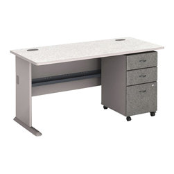 "Bush - Bush Series A 60"" Computer Desk with 3-Drawer File Cabinet in Pewter - Bush - Computer Desks - WC14560PKG2 -    Bush Series A 3 Drawer Vertical Mobile Filing Storage Cabinet in White Spectrum and Pewter (included quantity: 1) Put your files in good hands with the Bush Series A Collection Three Drawer File Cabinet, a subtle solution which fits easily under virtually any desk. This classy filing cabinet stands nicely on its own and will excellently complement other Bush Furniture pieces.  Features:"