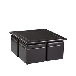 Holly & Martin - Broderick Storage Cube Table Set - Perfect for small spaces, this sleek faux leather set offers a stylish place for books and beverages to lounge. Four ottomans hide neatly beneath the surface, ready to rescue weary human feet at the end of a long day.